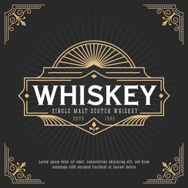 vintage line frame design for labels - alcohol drink borders stock illustrations