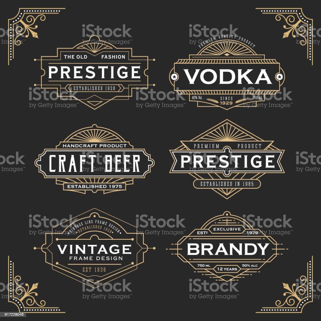 Design de moldura linha vintage para etiquetas - ilustração de arte em vetor
