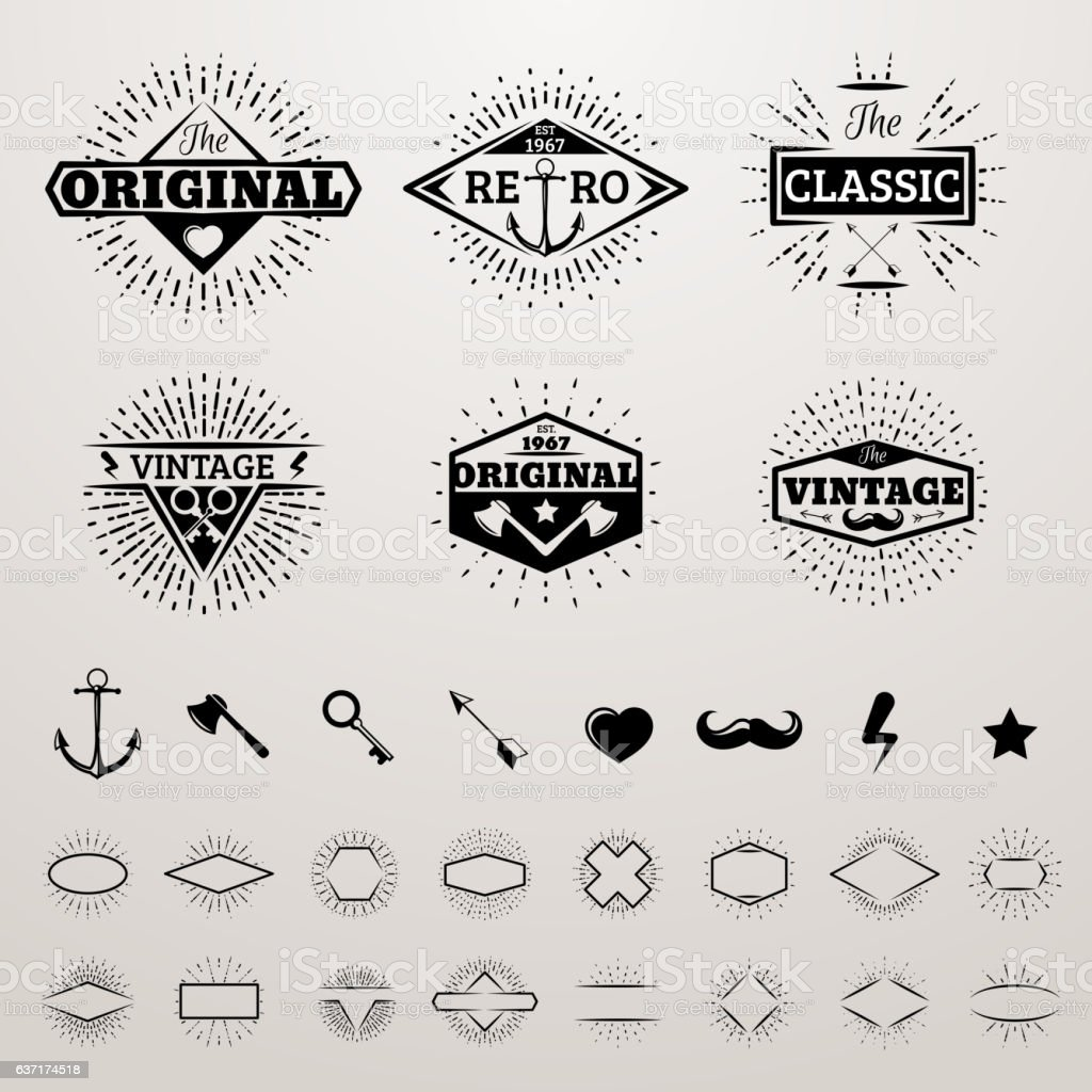 Vintage lines insignia set with star burst – Vektorgrafik