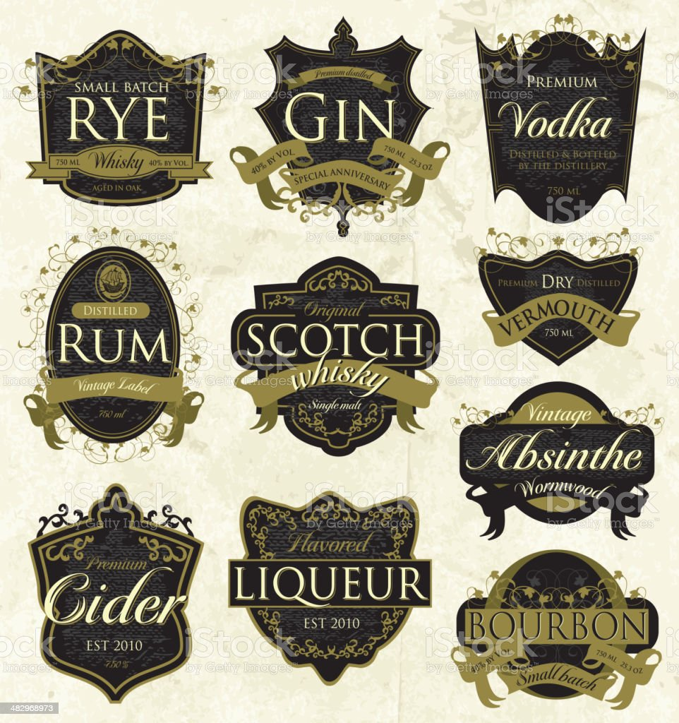 Vintage liquor labels royalty-free stock vector art