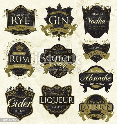 istock Vintage liquor labels 482968973