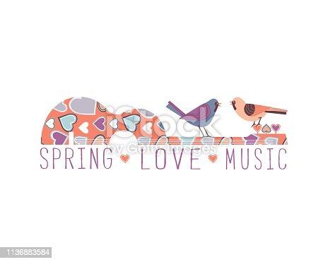 Romantic music icon concept. Hand drawn vintage guitar silhouette, kissing birds. Classic guitar flat design element. Musical fest poster, flyer template. Seasonal event background vector illustration