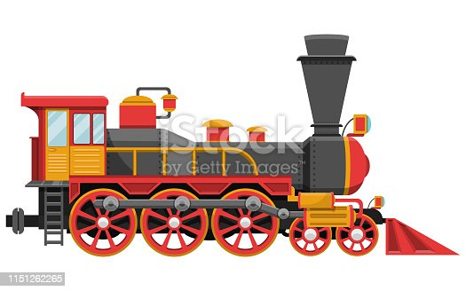 Beautiful vector design illustration of vintage locomotive isolated on white background