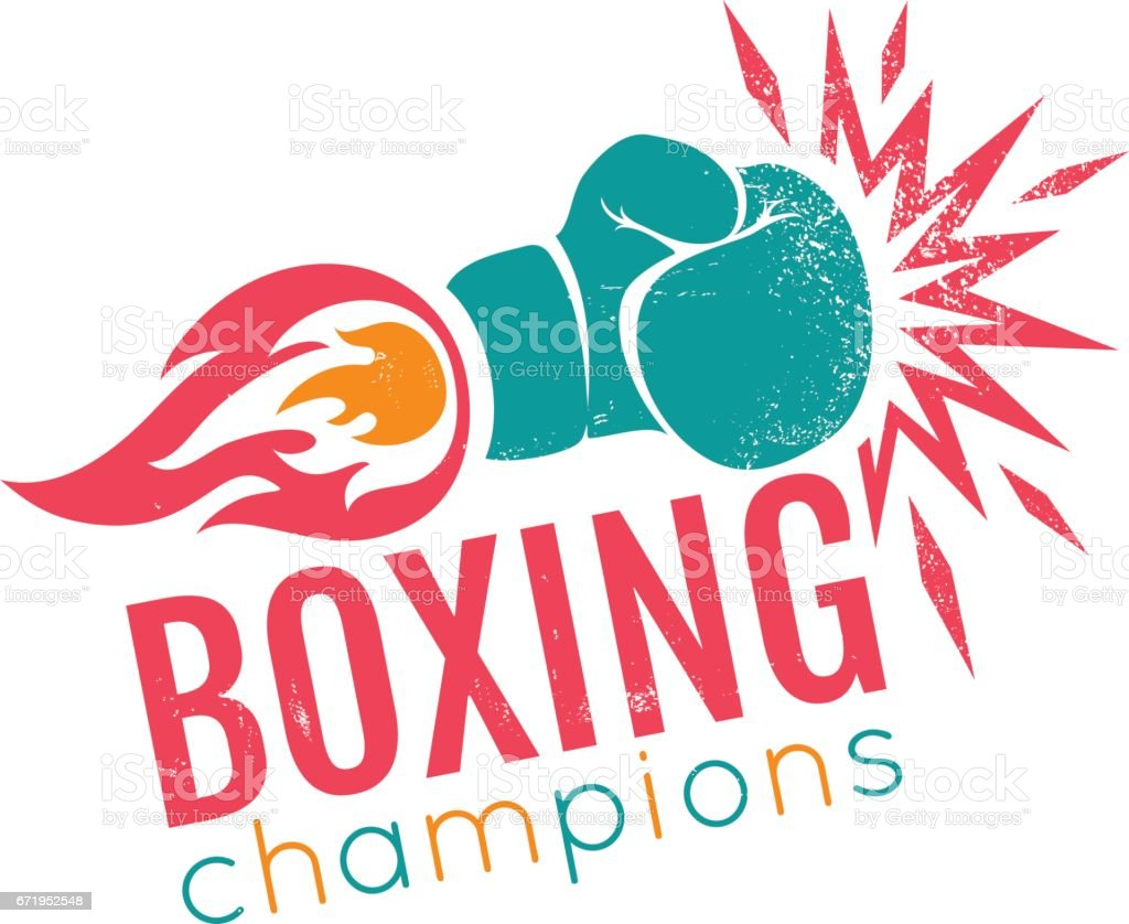 Vintage logo for boxing. vector art illustration