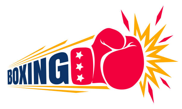 stockillustraties, clipart, cartoons en iconen met vintage logo voor boksen. - knock out