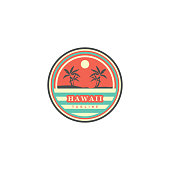 logo circle with hawaii beach atmosphere at sunset. simple look beautiful and attractive