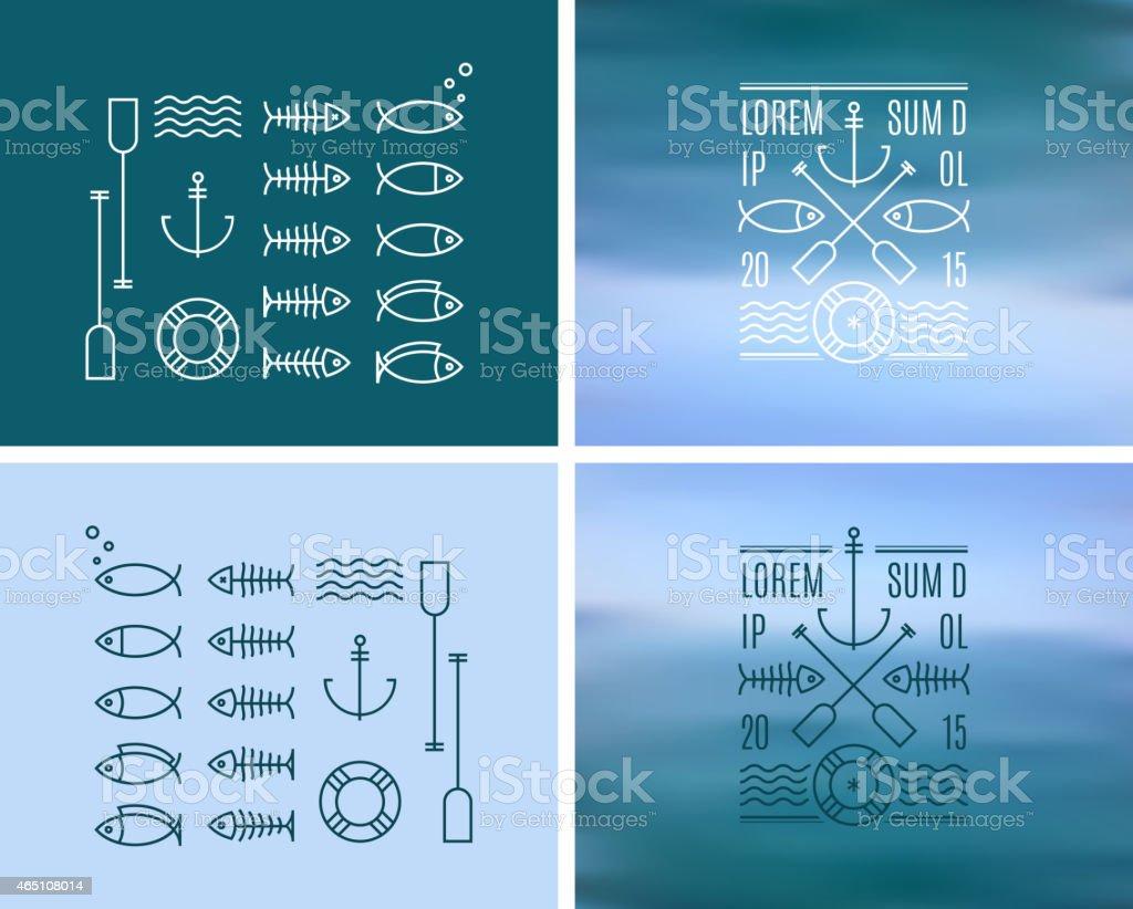 Vintage Logo & Insignia Kit on blurred background vector art illustration