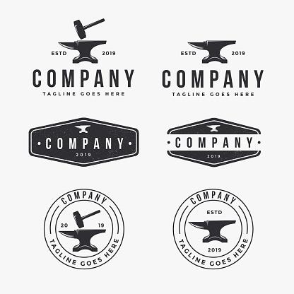 vintage logo set of anvil blacksmith, industrial identity