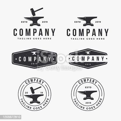 vintage logo set of anvil blacksmith, for industrial identity