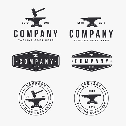 vintage logo set of anvil blacksmith, for industrial identity