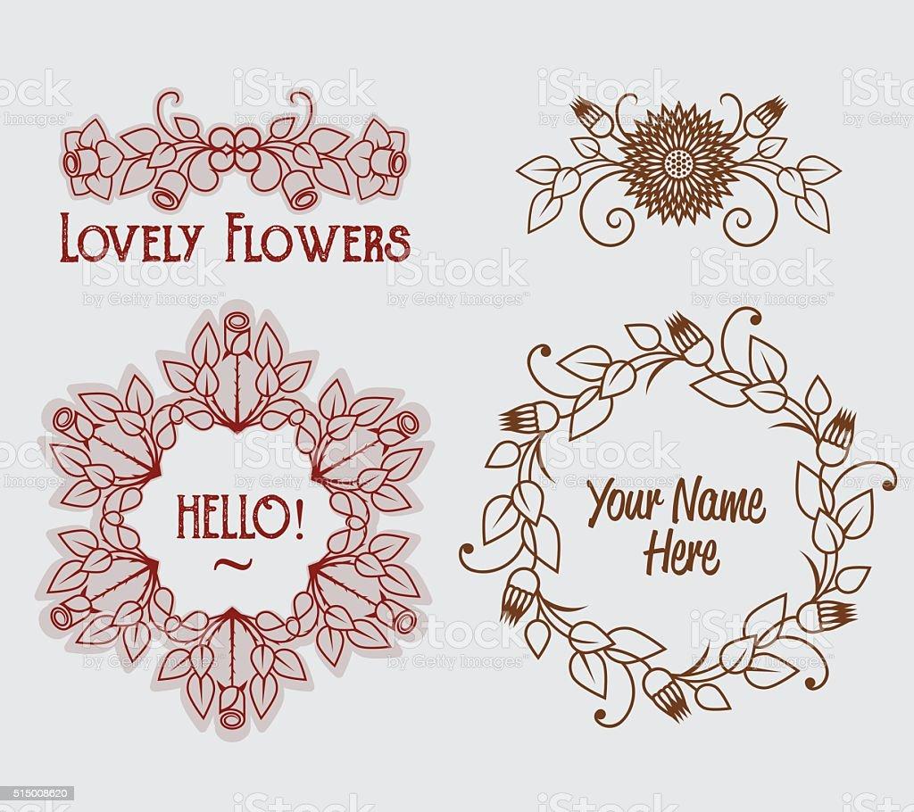 Ilustracion De Plantilla De Logotipo De Flores Vintage Conjunto De