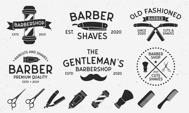 理髪店、散髪サロンのための6つのヴィンテージロゴテンプレートと8つのデザイン要素。理髪店、理髪店、散髪のサロンエンブレムテンプレート。ベクトルイラストレーション - 床屋点のイラスト素材/クリップアート素材/マンガ素材/アイコン素材