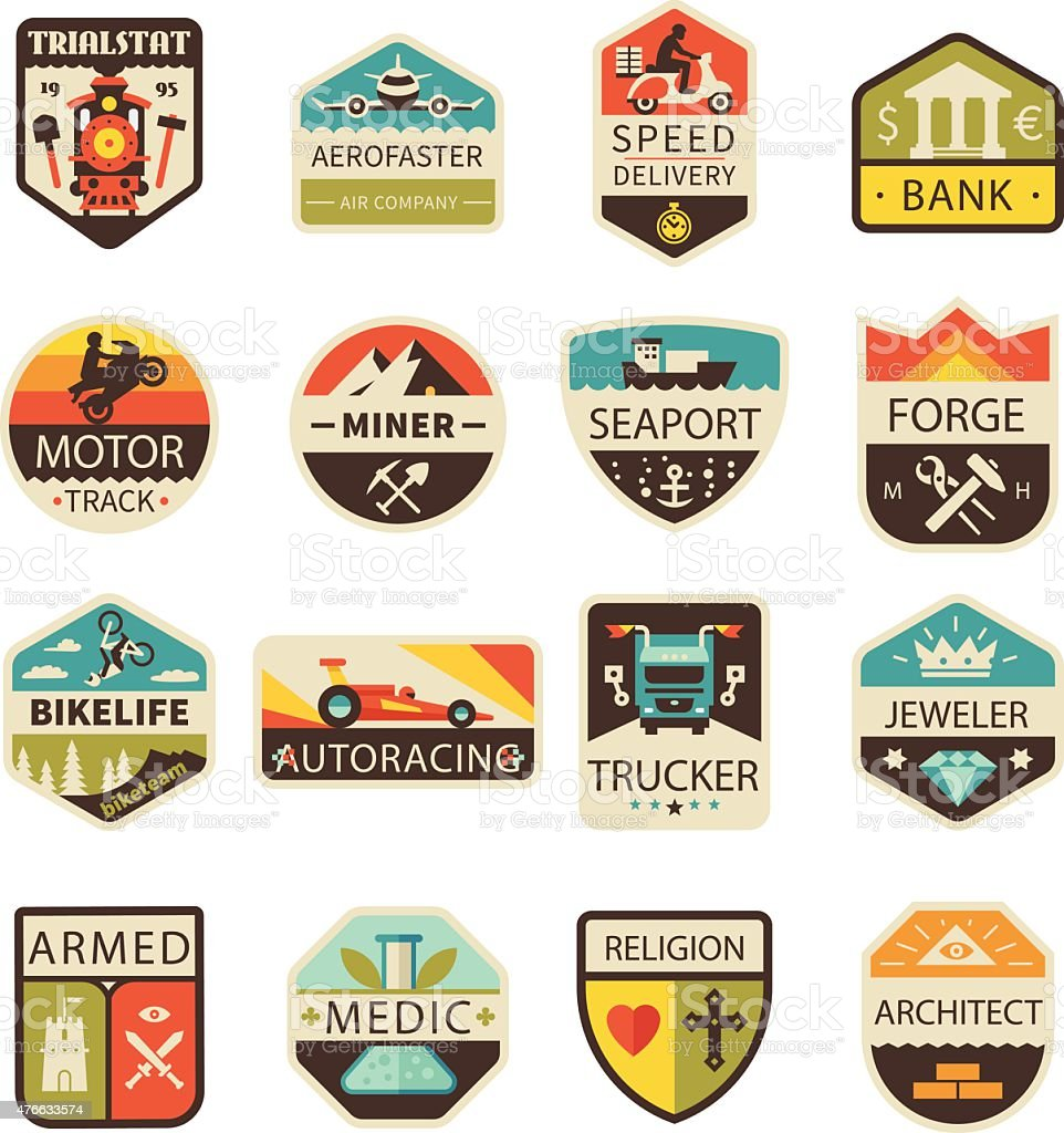 Vintage logos and badges vector art illustration