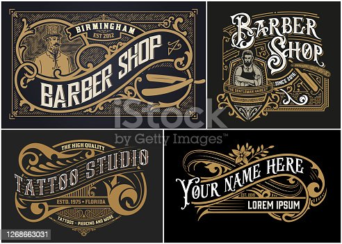 istock Vintage Logos organized by layers 1268663031