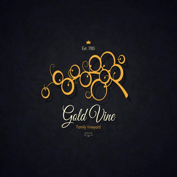 bildbanksillustrationer, clip art samt tecknat material och ikoner med vintage logotype för vingård, vingård, vinbutik, vinlista - vindruva