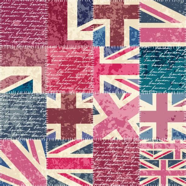 ビンテージ ロンドン パターン - イギリスの国旗点のイラスト素材/クリップアート素材/マンガ素材/アイコン素材