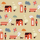 London street seamless pattern with soldiers, red buses and cats