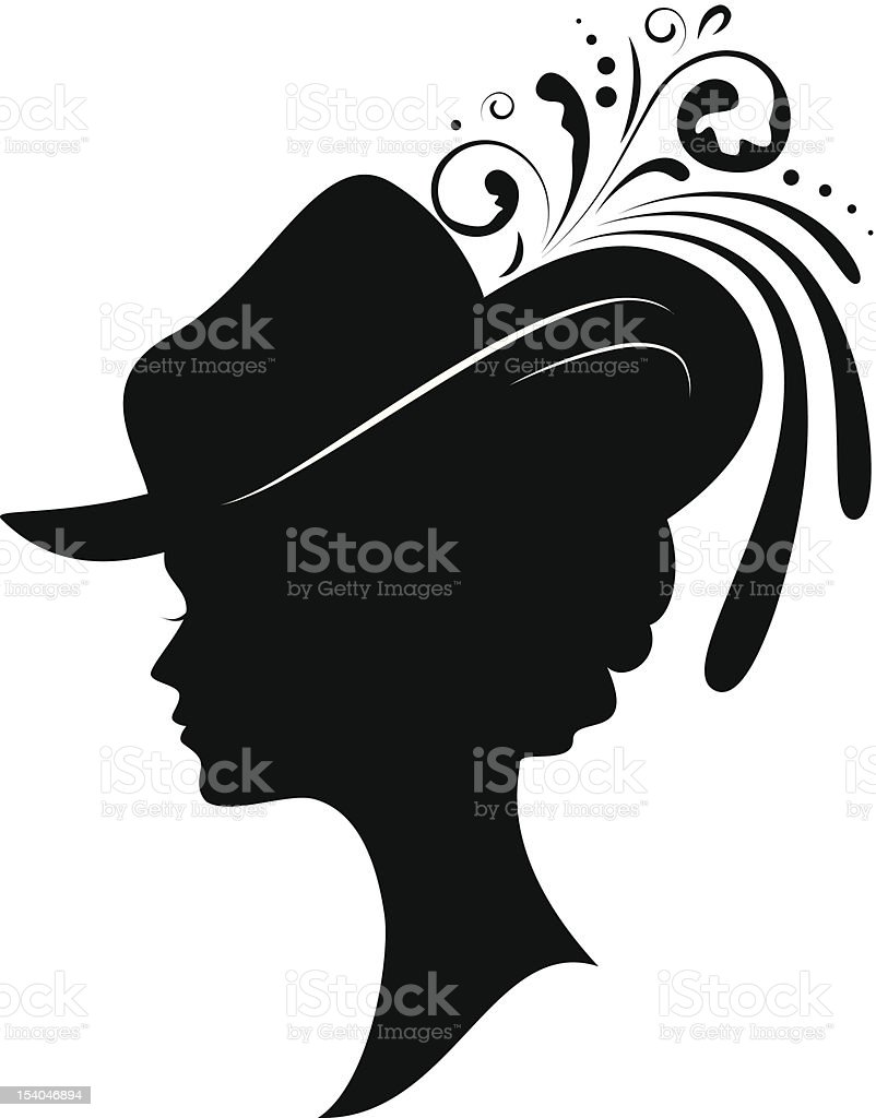 Vintage looking outline of a female wearing an elaborate hat vector art illustration