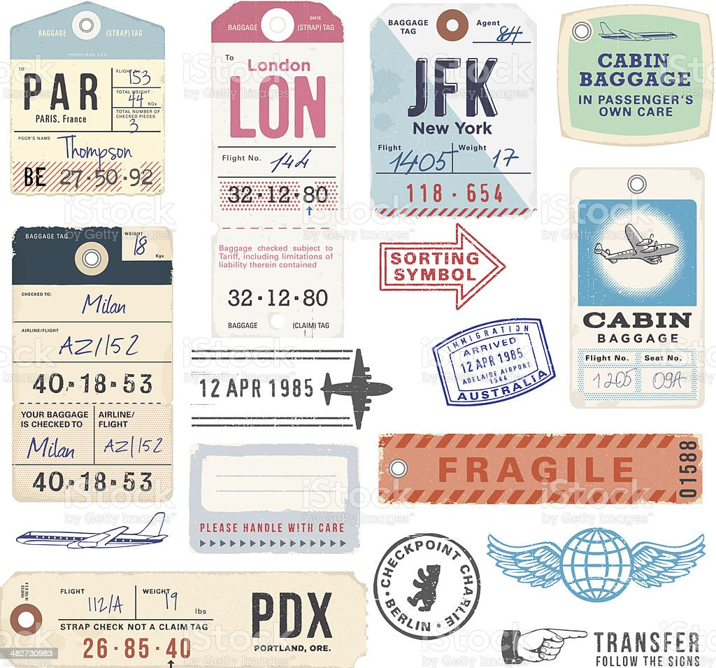 Vintage Luggage Tags and Stamps royalty-free vintage luggage tags and stamps stock vector art & more images of airplane