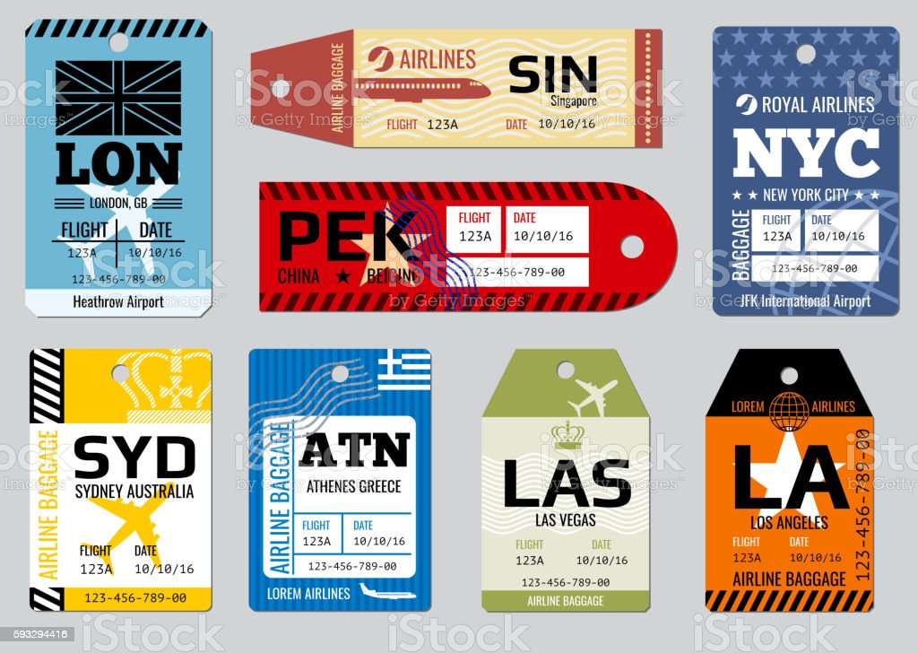 Vintage luggage tags, travel labels vector set - ilustración de arte vectorial