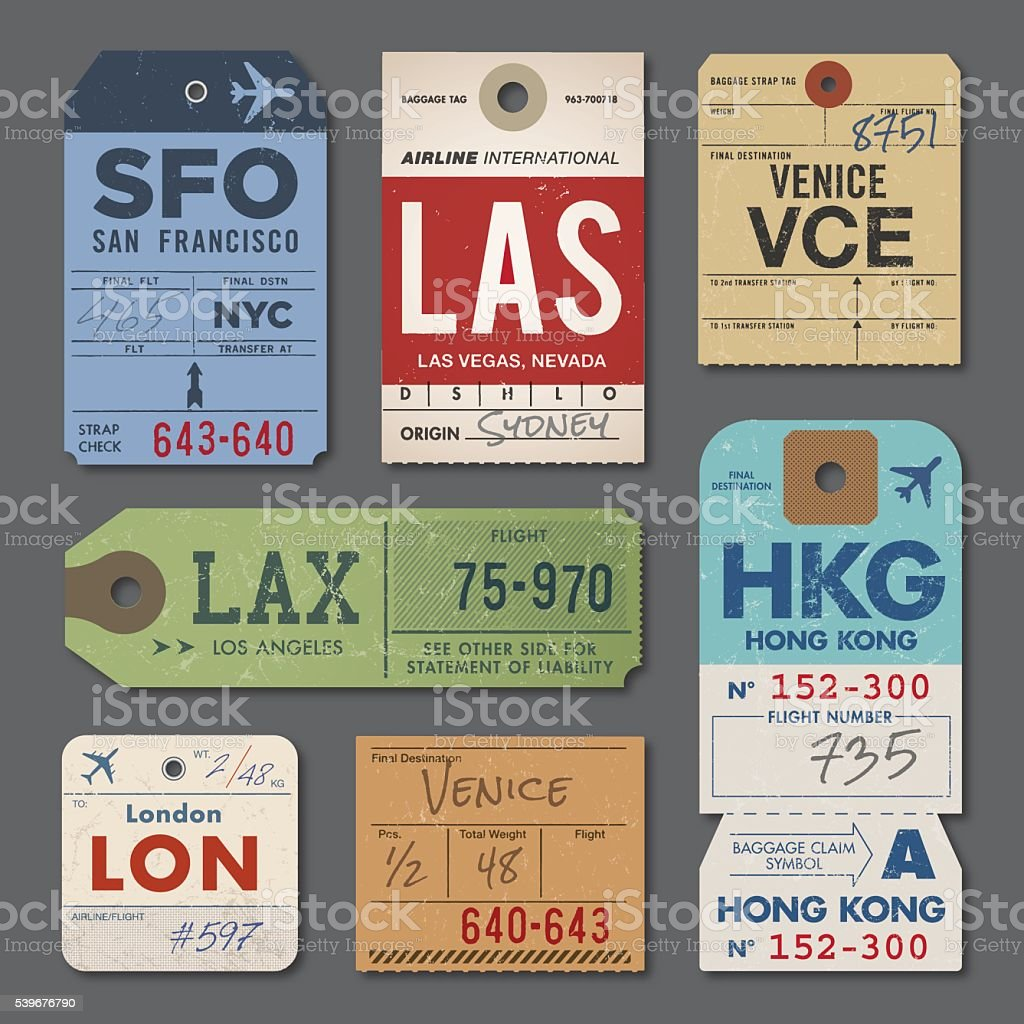 Vintage luggage tags stock vector art more images of for Airline luggage tag template