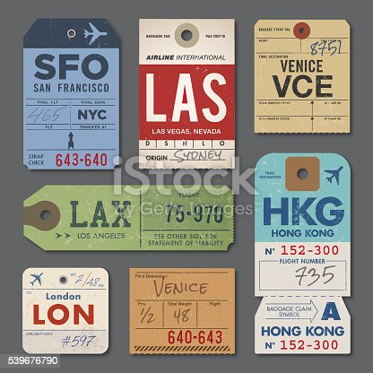 Vintage Luggage Tags and Stamps. EPS 10.
