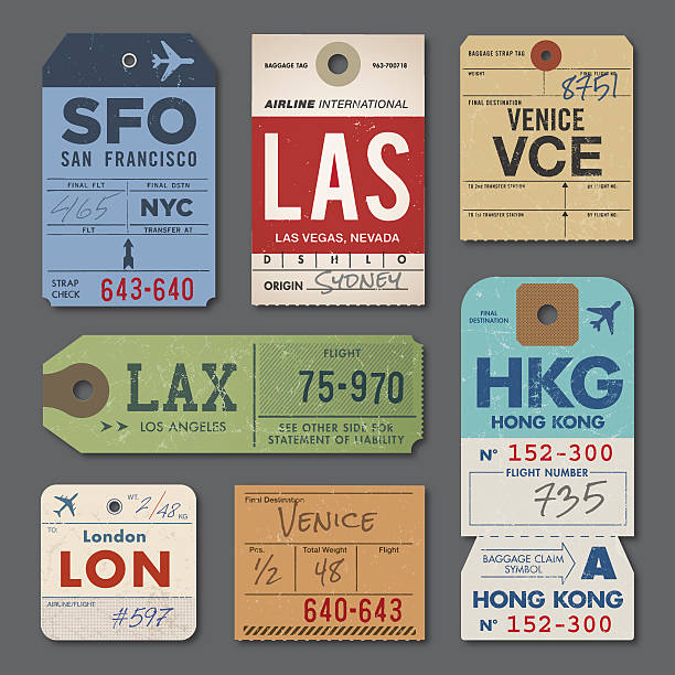 Vintage Luggage Tags Vintage Luggage Tags and Stamps. EPS 10. airplane ticket stock illustrations