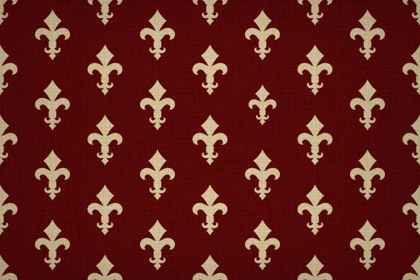 Vintage luxury Fleur-de-lis seamless royal background. France historic  ornamental pattern with heraldic symbol Fleur de Lis. Red and gold style immaculate virgin symbolics. Vector illustration vector art illustration