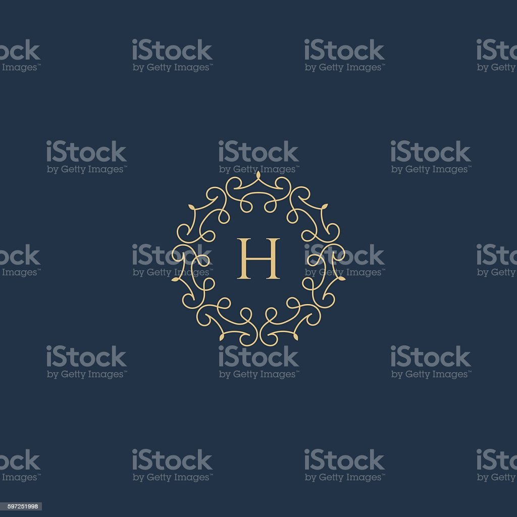 Vintage Luxury Floral H letter logo badge.
