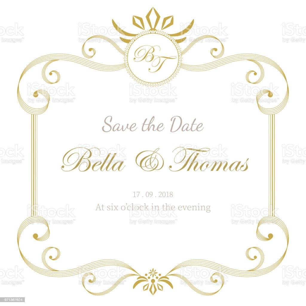 Vintage Luxus Einladung Hochzeit Karte Minimal Vorlage Stock Vektor