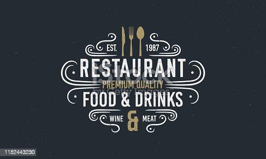Vintage luxury restaurant logo or poster template. Vintage emblem for restaurant. Restaurant menu design. Vector illustration