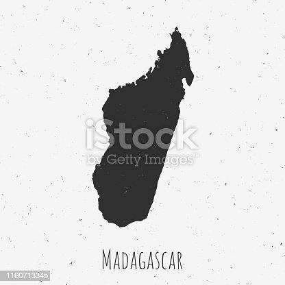 istock Vintage Madagascar map with retro style, on dusty white background 1160713345
