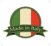 Vintage Made in Italy Sign - bandiera italiana, tricolore - layered and groupped, high res. jpg incl. EPS10, transparency used.