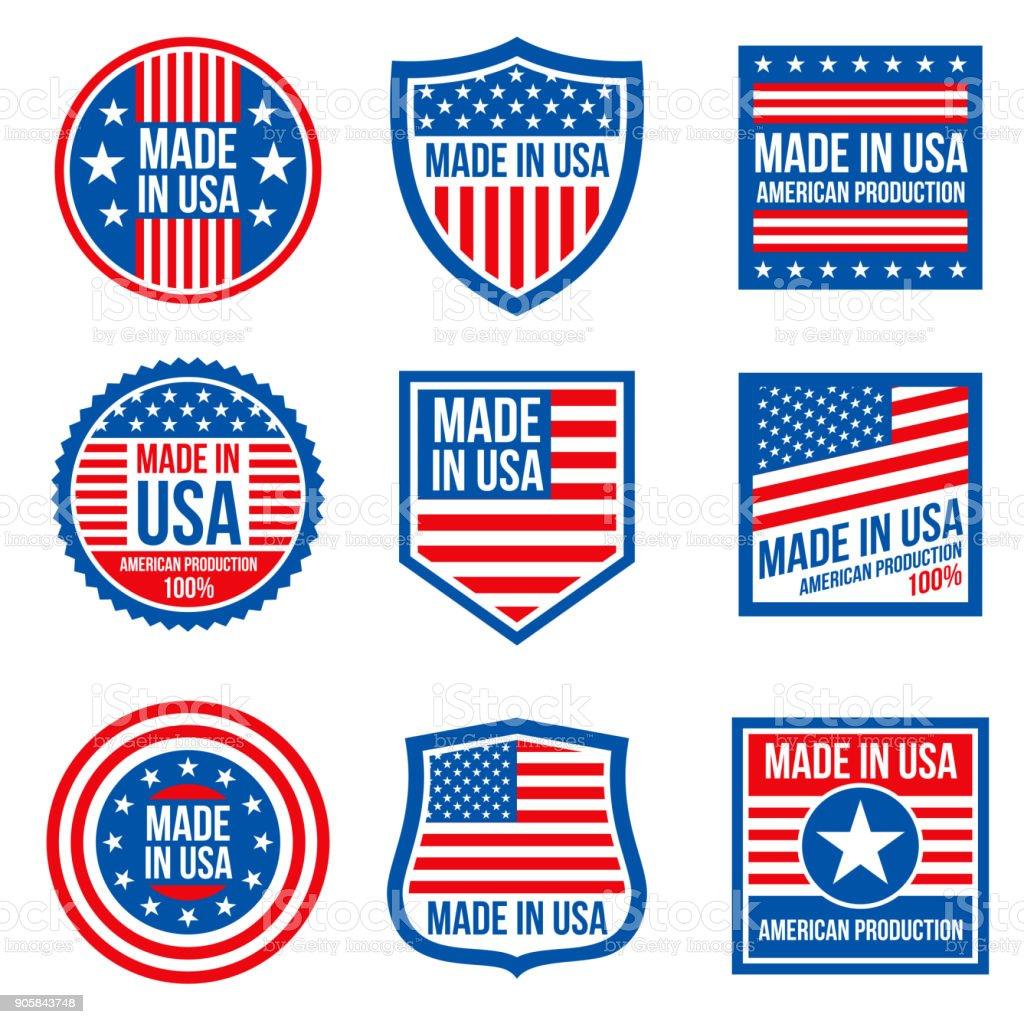 Vintage made in the usa vector badges. American patriotic icons vector art illustration