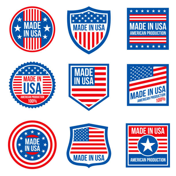 vintage made in the usa vector badges. american patriotic icons - wykonać stock illustrations