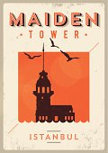 Vintage Maiden Tower - Istanbul Poster