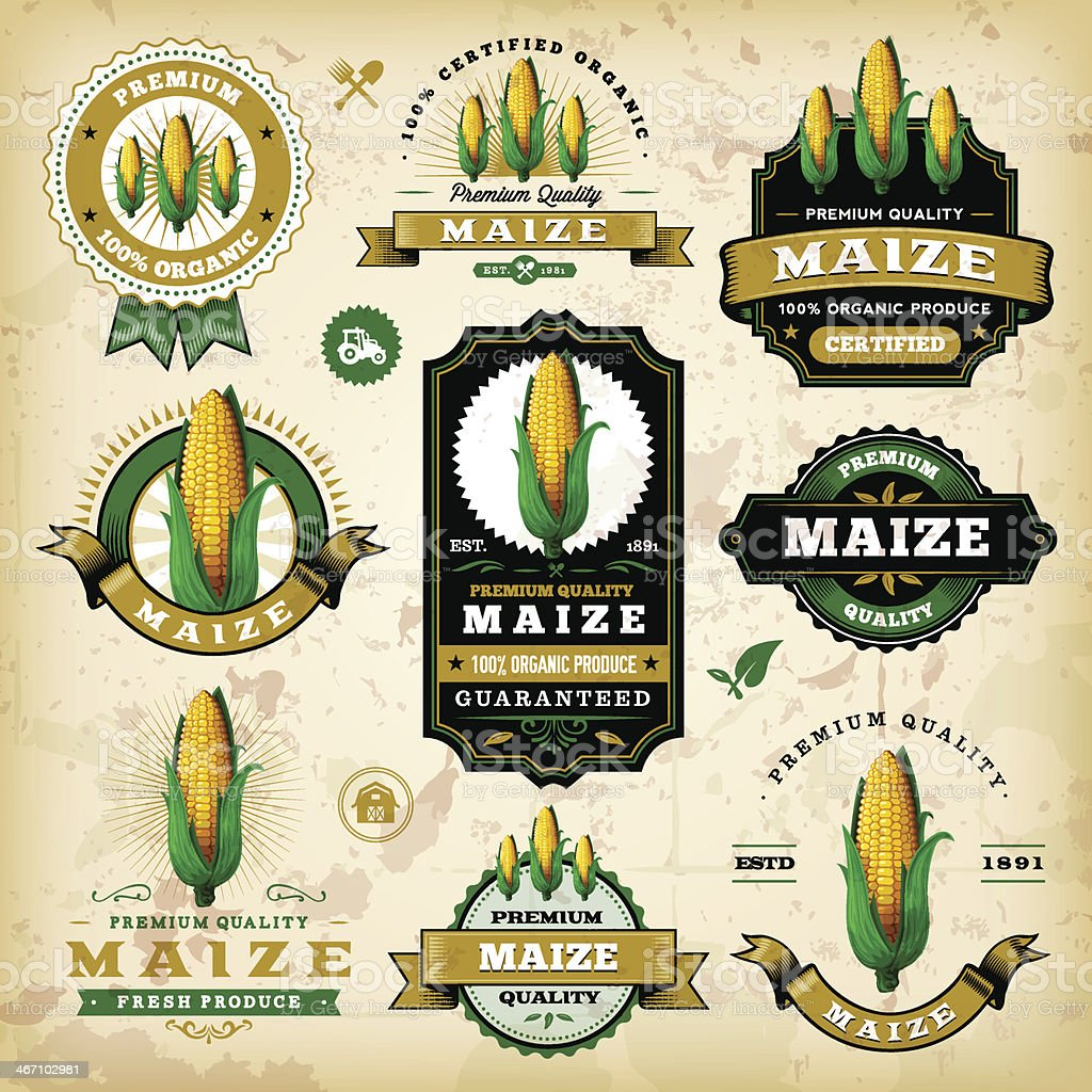 Vintage Maize Labels royalty-free vintage maize labels stock vector art & more images of agriculture