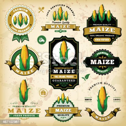 A collection of vintage styled maize/corn labels. EPS 10 file, layered & grouped, with meshes and transparencies (shadows & overall effects only).