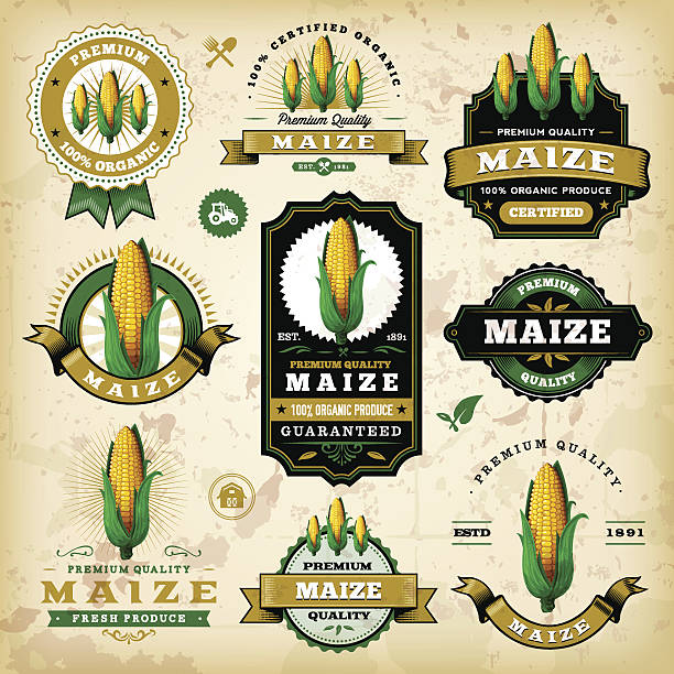 vintage mais label - mais stock-grafiken, -clipart, -cartoons und -symbole