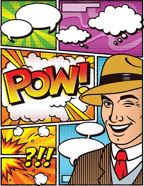 vintage mann comic-layout-vorlage - kopfschüsse stock-grafiken, -clipart, -cartoons und -symbole