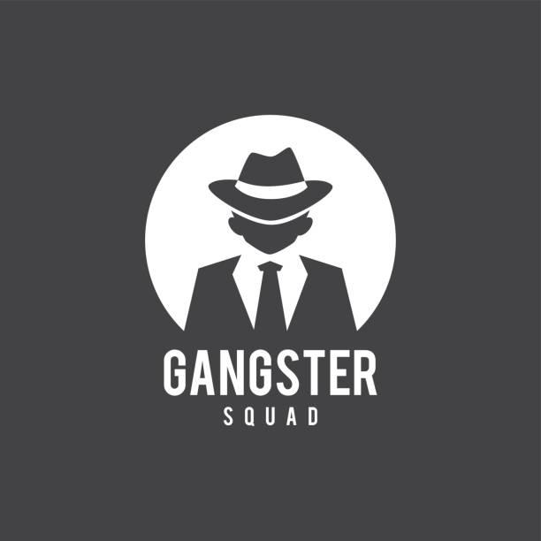 vintage man in black suit badge and label, gentleman symbol - gangster stock illustrations, clip art, cartoons, & icons