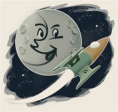 A vintage style Man in the Moon smiling at a rocket flying by