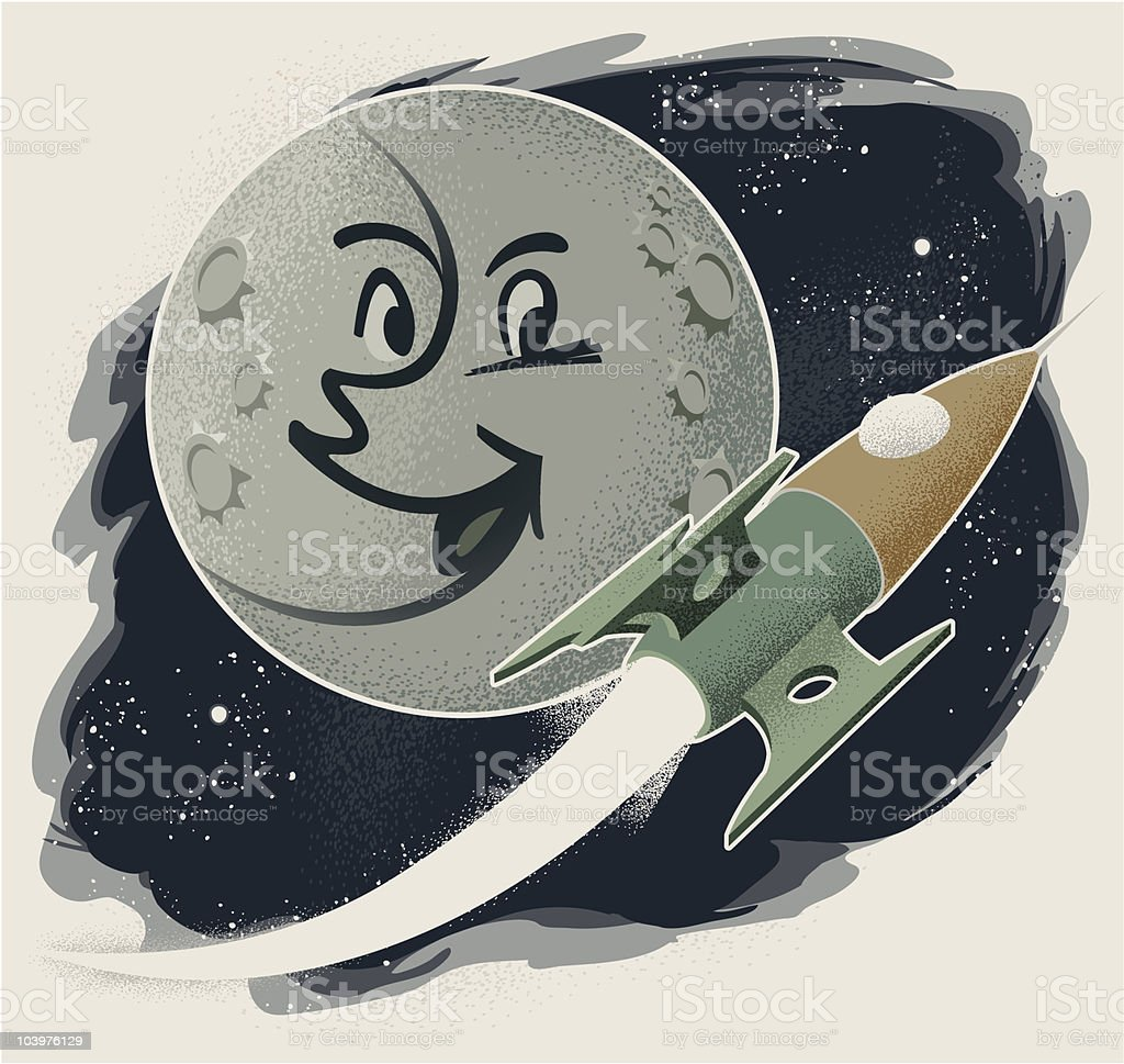 Vintage Man in the Moon with Rocket vector art illustration