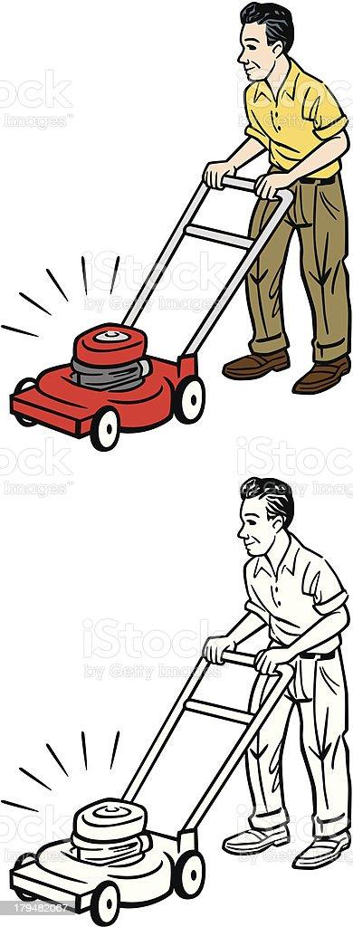 Vintage Man Mowing vector art illustration