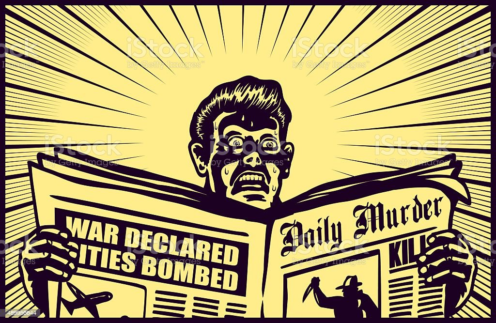 Vintage man reading tabloid newspaper, anxious and shocked face, scaremongering vector art illustration