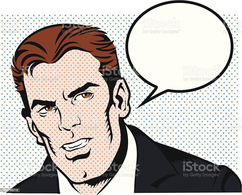 Vintage Man Talking vector art illustration