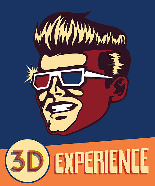 retro Mann mit retro 3d-Brille, 3d-Filmen und Kino – Vektorgrafik