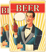 Retro ad styled image, of man with beer. eps9