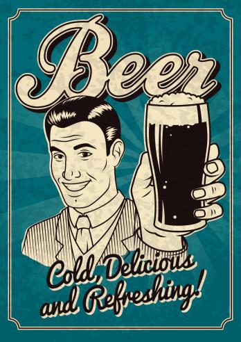 Vintage Man with Beer