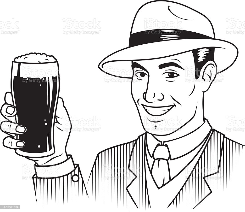 Vintage Man With Beer royalty-free stock vector art